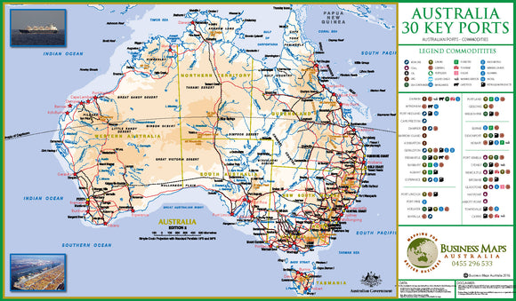 Australia Wall Map - Top 30 Ports - 1150 x 750mm - Laminated
