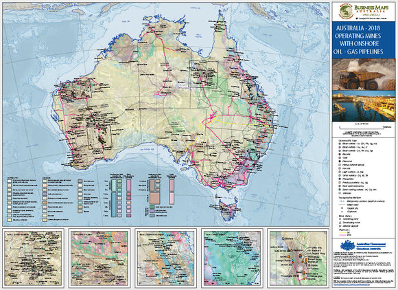 Australia Wall Map - Operating Mines and Gas Pipelines - 1200 x 900mm - Laminated