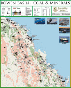 Bowen Basin Wall Map - Coal & Minerals - 1070 x 900mm - Laminated