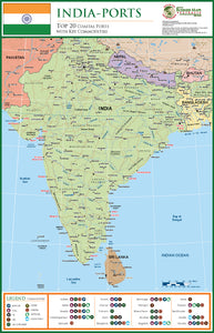 India Wall Map - Top 20 Coastal Ports - 1200 x 780mm - Laminated