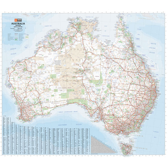 Australia Mega Map 1600mmH X 1829mmW - Waterproof/Durable Paper