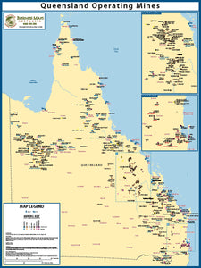 Queensland Wall Map - Operating mines and minerals - 1050 x 800mm - Laminated