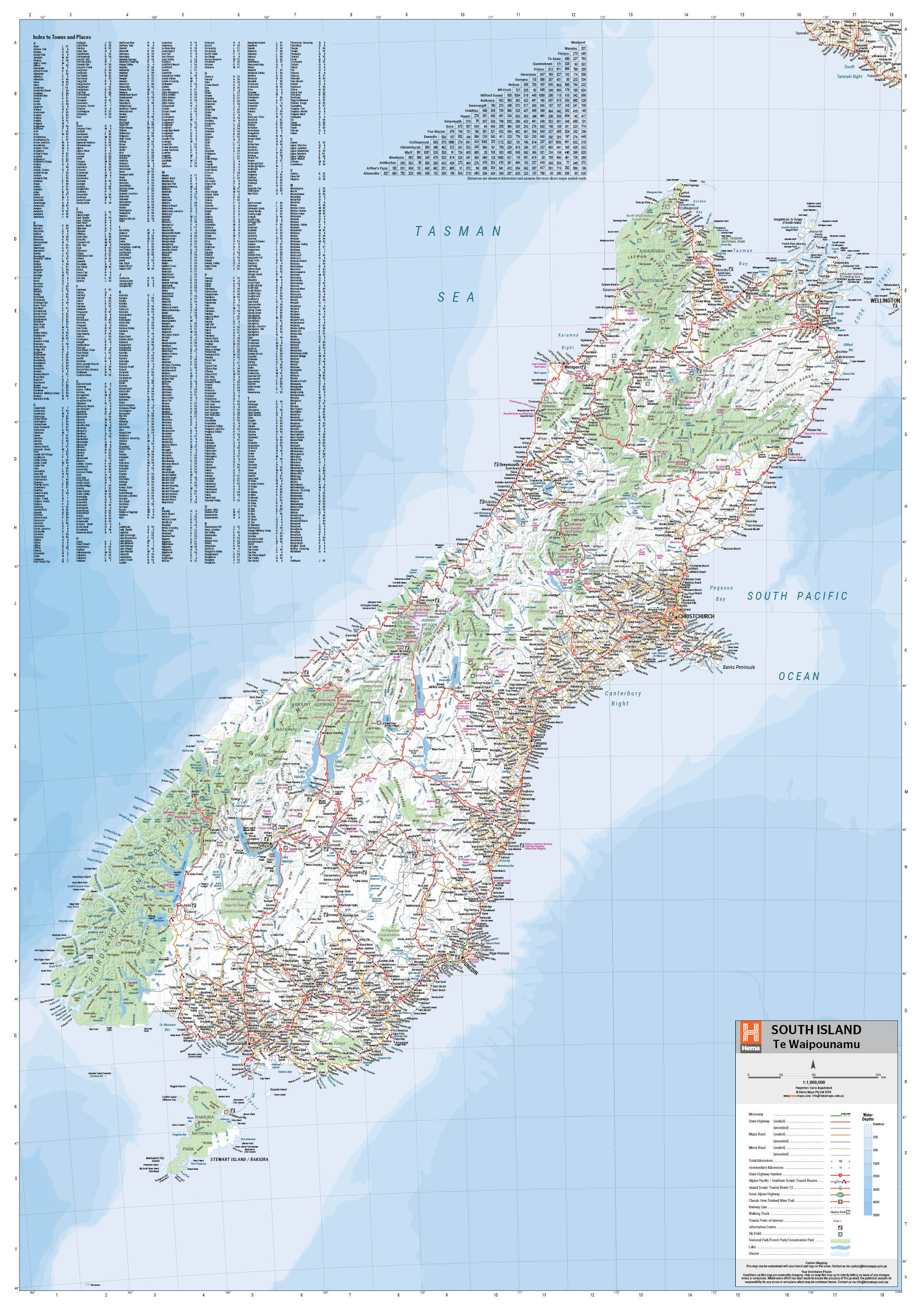 South Island Map Of New Zealand.South Island New Zealand Hema Maps