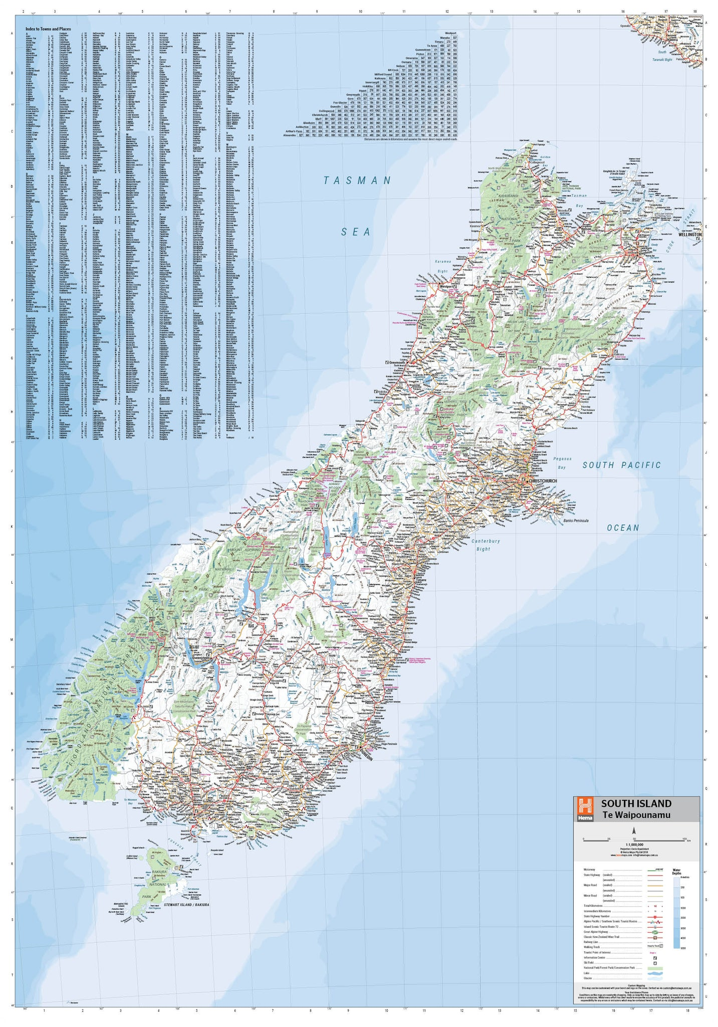 Map Of New Zealand Towns.South Island New Zealand Hema Maps