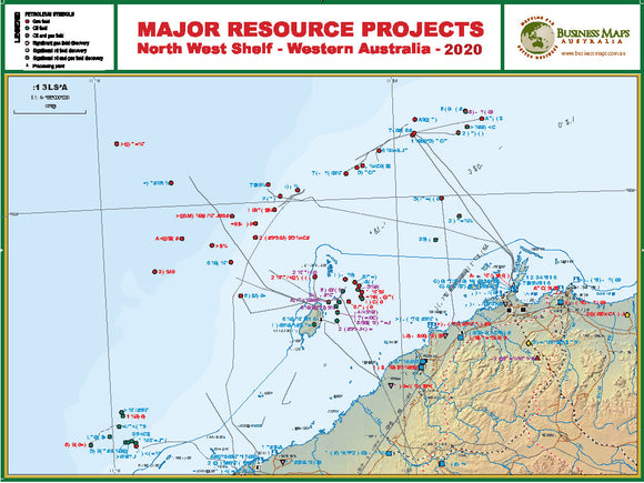 Western Australia North West Shelf - Major resource projects map - 1200x900mm - Laminated