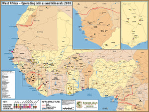 West Africa - Operating mines and minerals map - 1100x850mm - Laminated