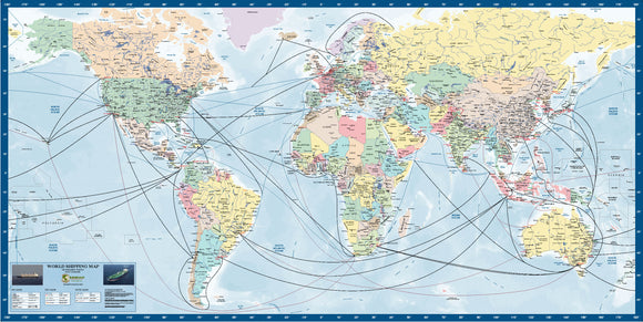 World Shipping Route map - 1500x800mm - Laminated
