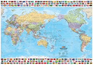 World & Flags Map - 1000x700 - Unlaminated