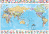 World & Flags Map - 1000x700 - Laminated
