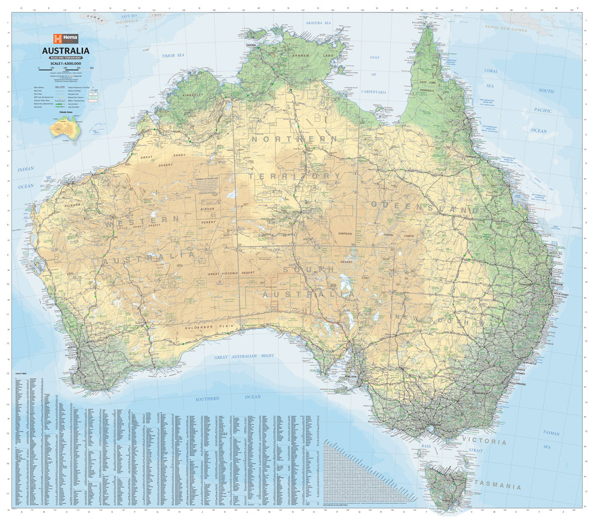 Buy Map Of Australia.Australia Road Terrain Map Laminated Tubed 1000x875mm Hema Maps