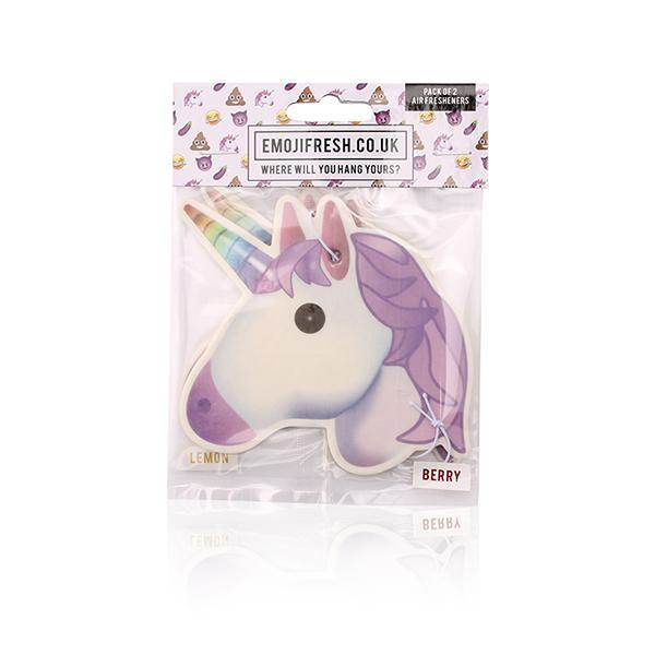3 Packs (6 Fresheners) x Official Emoji Fresh Car Jar Hanging Car Air Fresheners – Devil, Aubergine, Unicorn Pack
