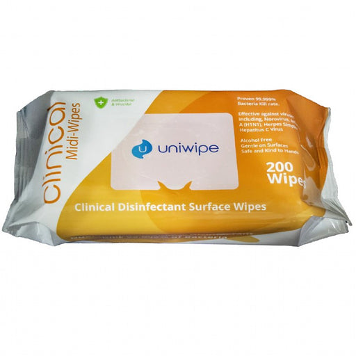 Uniwipe Clinical Anti Virus Midi Wipes - Pack Of 200 -  EN14476 1 - JENNYCHEM