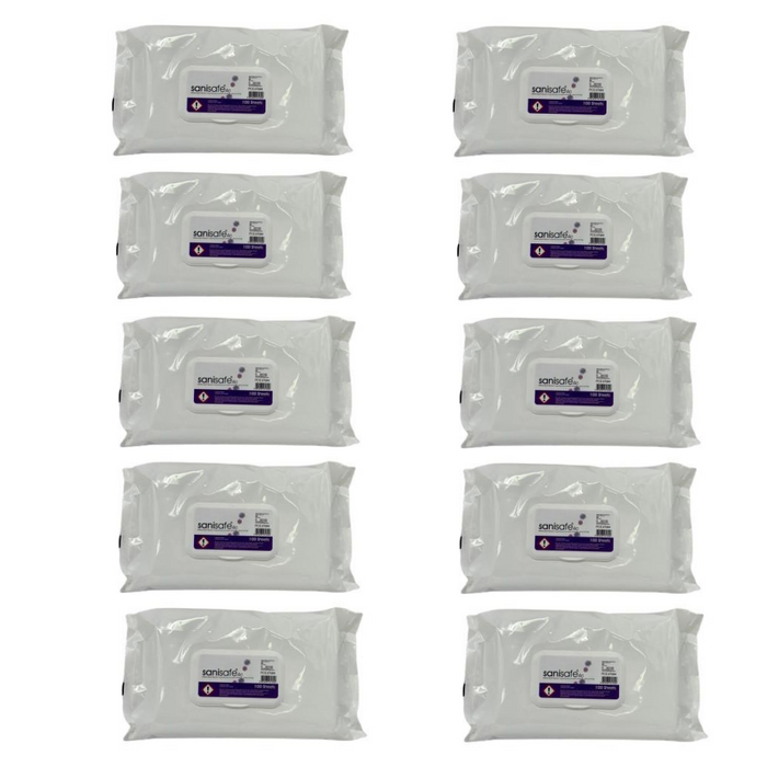 Case Of 10 Anti Virus Sanisafe Wipes 10 PACKS (CASE DEAL) - JENNYCHEM