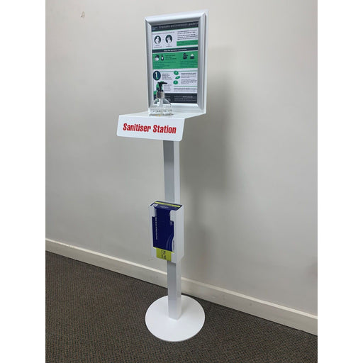 FREE STANDING FLOOR STAND UNIT FOR 500ML HAND SANITISER AND GLOVE DISPENSER - Includes 1 X 500ml Hand Gel and 1 X Box of 100  Gloves  - JENNYCHEM