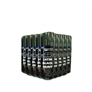 Satin Black Aerosol Paint CASE OF 12 X 400ML - JENNYCHEM
