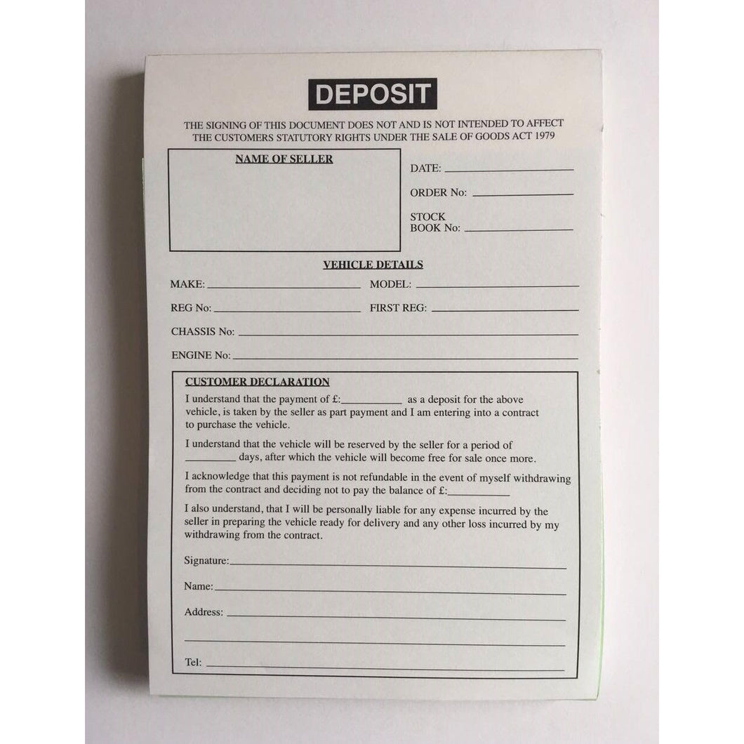 A5 Used Car Sales Deposit Pad Invoice Buying & Selling Cars