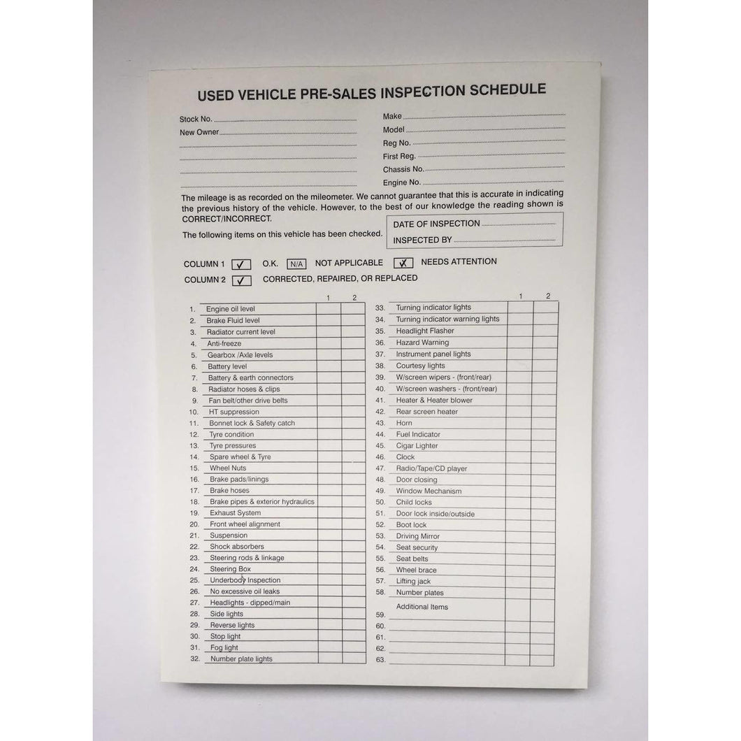 Used Car Vehicle Pre-Sales Delivery Inspection Schedule Form (PDI) Invoice Pad