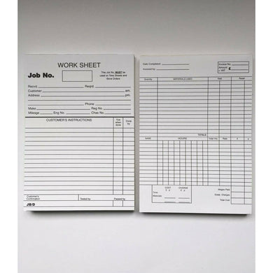 Garage Workshop Repair Job Cards Works Sheets