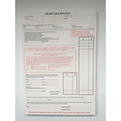 Used Car Vehicle Sales Invoice Trade Sale Pad