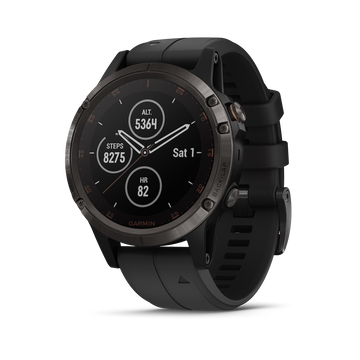 fēnix® 5 Plus Sapphire, Carbon Gray DLC Titanium with Black Silicone Band