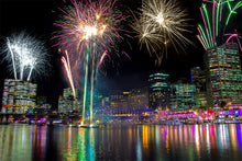Load image into Gallery viewer, Sydney Vivid Festival | Fireworks | Night Sky | City | Landscape Photography | Wall Art