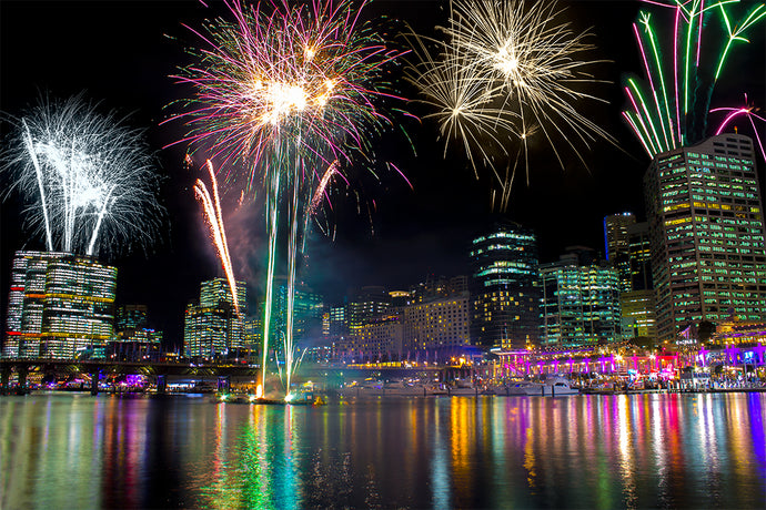 Sydney Vivid Festival | Fireworks | Night Sky | City | Landscape Photography | Wall Art