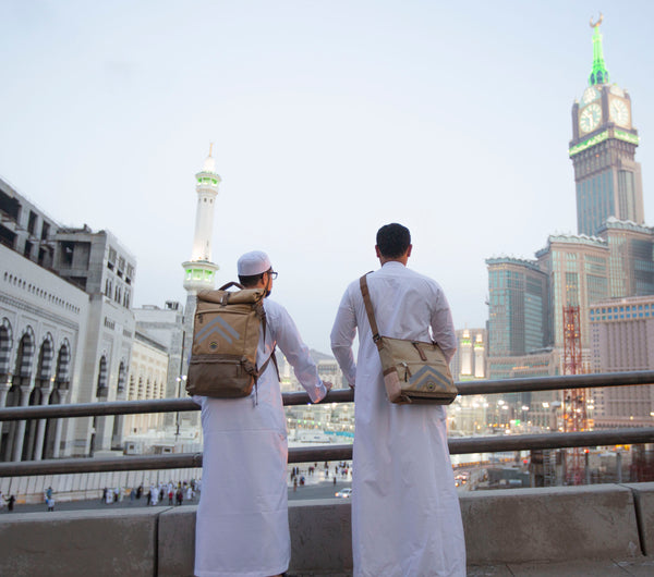 Hajj and Umrah Travel Bags Backpack in Makkah with Clock Tower and Kabaa - FEJ Gear