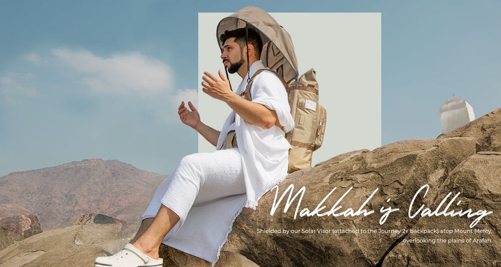 Hajj Backpack and Solar Visor on Mount Arafat for Hajj and Umrah - FEJ Gear