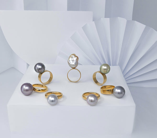 Round Mauve Chinese Freshwater pearl ring