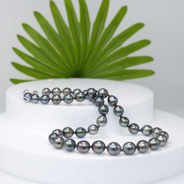 Soft Peacock drops Tahitian pearl necklace