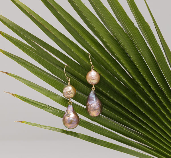Teardrops Japan Kasumi pearl two-tier earrings