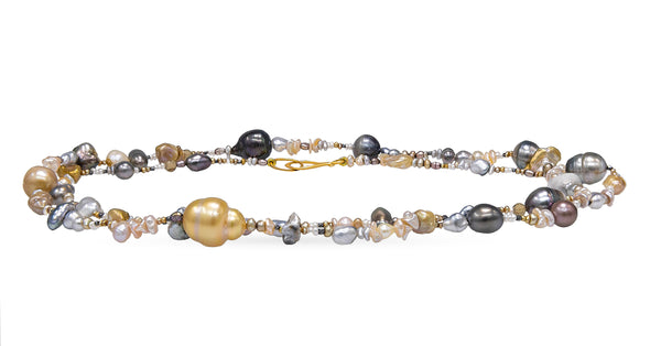 Golden South Sea, Tahitian pearls and Freshwater Keshi necklace