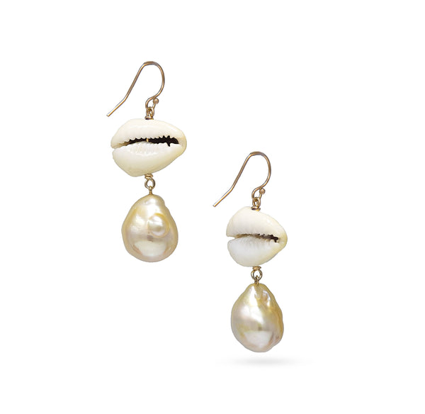 Summer Fun Golden South Sea Baroque pearl earrings with Yellow Cowry Shells