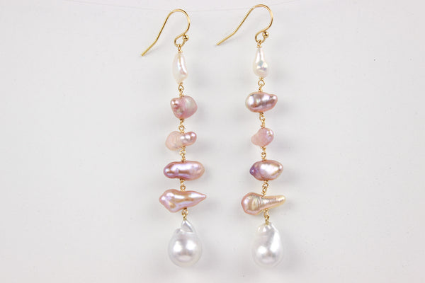 south sea and chosen keshi pearl mobile earrings