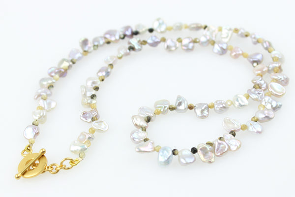 dainty keshi petal pearls with abalone shell beads