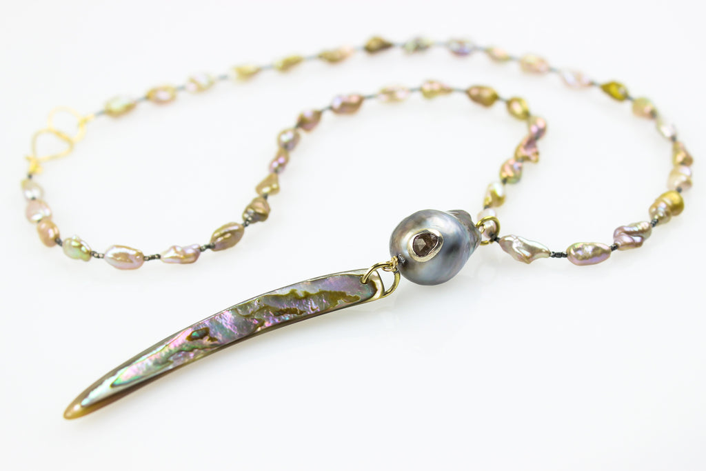 ocean gift abalone shell and keshi necklace
