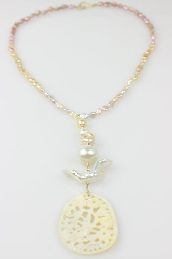 softly as a snow bird necklace