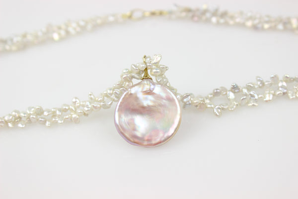 moon bow coin pearl necklace