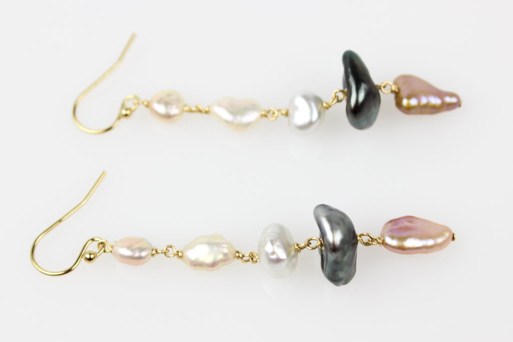 trio of keshi pearl mobile earrings
