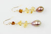 citrine and metallic fresh water drop earrings