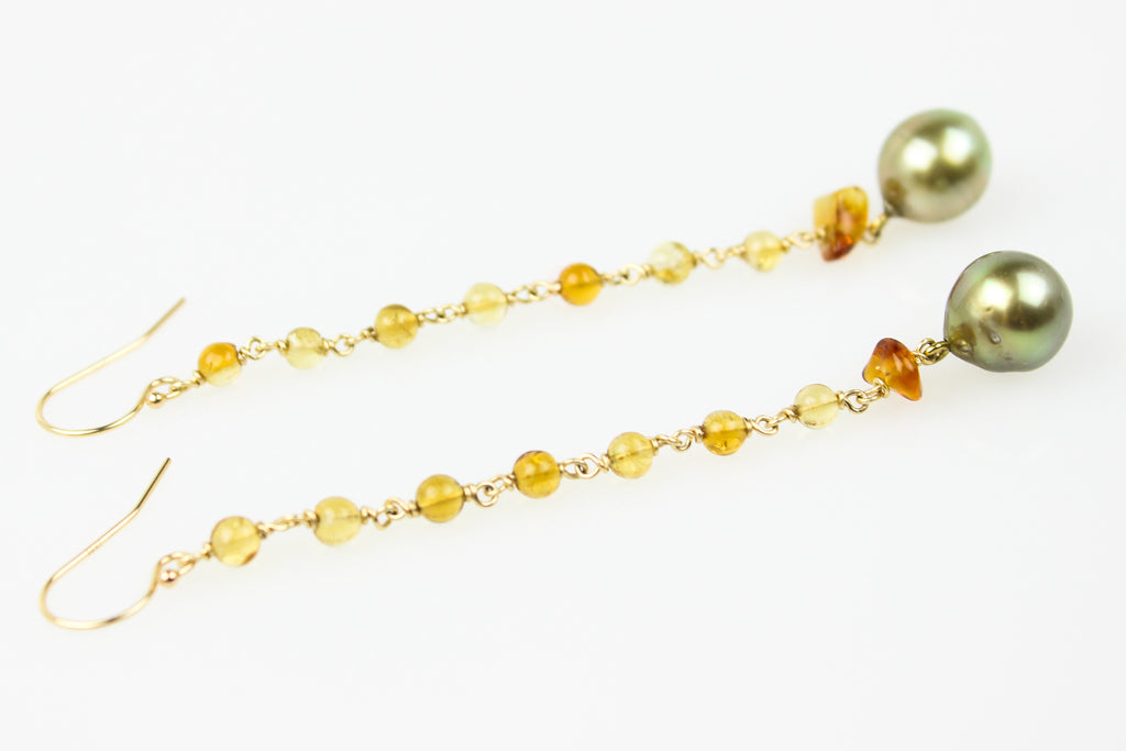 VINTAGE CITRINE AND PISTACHIO TAHITIAN PEARL EARRINGS