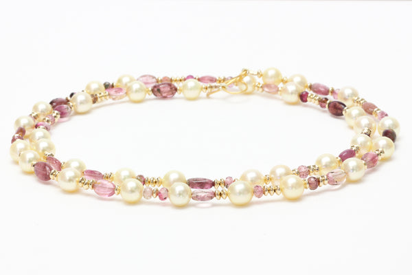 tourmaline and vintage japan akoya pearl necklace