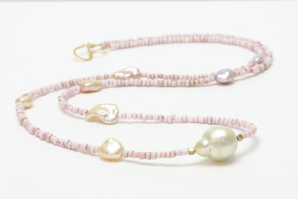 vintage pink african glass beads with chinese freshwater chosen keshi and south sea centerpiece necklace