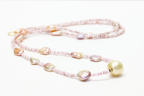 the first light of sunrise chinese chosen keshi and south sea centerpiece necklace