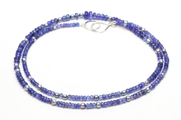 tanzanite and blue akoya pearl necklace
