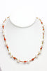 vintage coral, brass and chinese freshwater pearl necklace