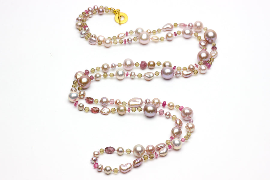 pink tourmaline, smokey quartz and chinese freshwater pearl necklace