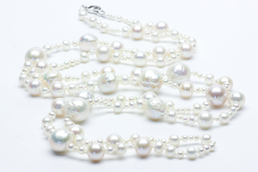 waterfall chinese freshwater pearl rope necklace