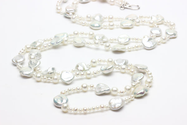 petal pearl waterfall rope necklace