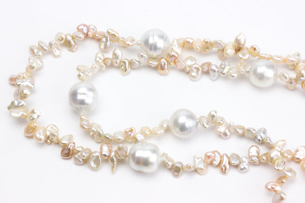 south sea pearl and chinese freshwater petal rope necklace